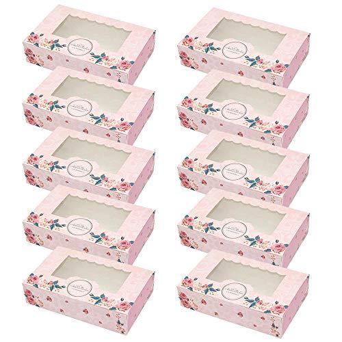 styleinside - Scatole per cupcake con motivo floreale rosa con finestra per pasticcini e biscotti, 10 pezzi