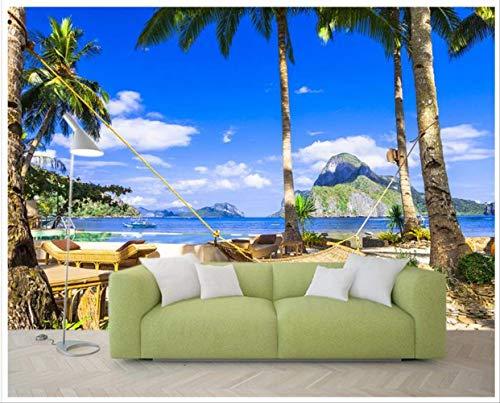 WANGJIA 3D behang voor muren 3 D muur muurschilderingen behang de grote blauwe kust hangmat strand door de zee 3 D tv instelling muur