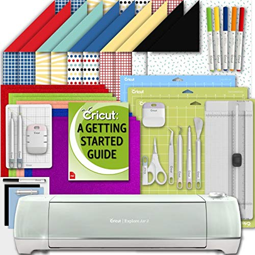 Cricut Explore Air 2 Machine Beginner Set: Shimmer Party Paper, Essential Tools, GripMat, and Writing Pen Set