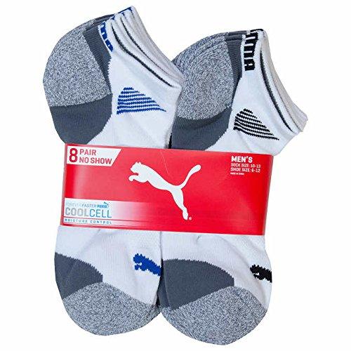 Puma Mens No Show Sock 8 pair White Shoe Size 6 12