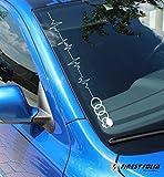 Adhesivo para parabrisas frontal con diseño de frecuencia cardíaca y calavera, para vehículos Audi