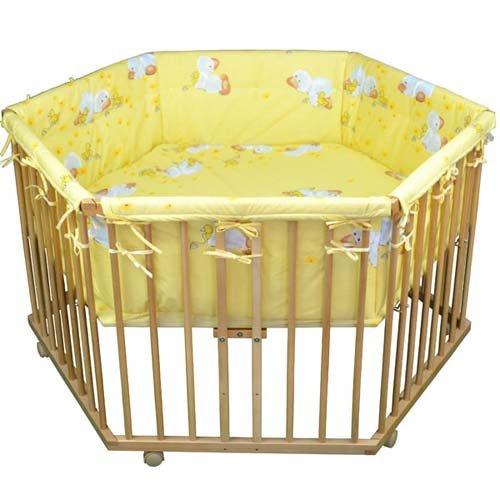 HONEY BEE Kinderlaufstall Baby Laufgitter Laufstall 6-eckig + Einlage Gelb Ente, 3 fach höhenverstellbar