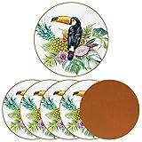 Posavasos para bebidas Toucan Bird In The Tropical Fruits Leave Jungle Print - Taza redonda de piel para proteger muebles, resistente al calor, decoración de bar de cocina, juego de 6