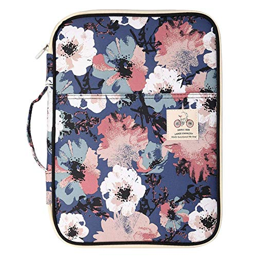 JAKAGO Multi-Functional Portfolio Travel File Organizer Business Waterproof A4 Document Bag Zippered Case Pouch for Notebook, Ipad, Journals, Sketchbooks Carrying Case (Flower)