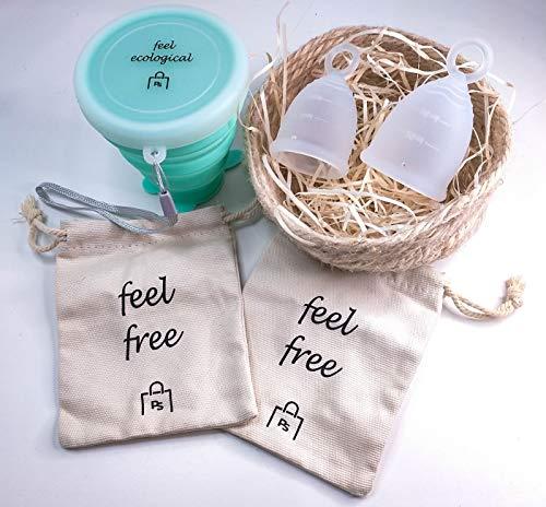 Povi Store Copa Menstrual Pack 2 Copas en Talla S (15ml) y L (20ml) Grado Médico + Esterilizador de Silicona Lavable + 2 Bolsas de tela para su transporte Dura 8-12 Horas Principiantes y Expertas