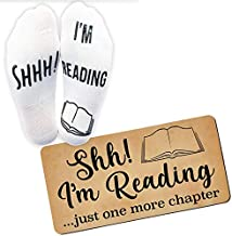 'Shhh I'm Reading' Funny Ankle Socks And Door Sign - Great Bundle Gift For Those People Who Love Books!