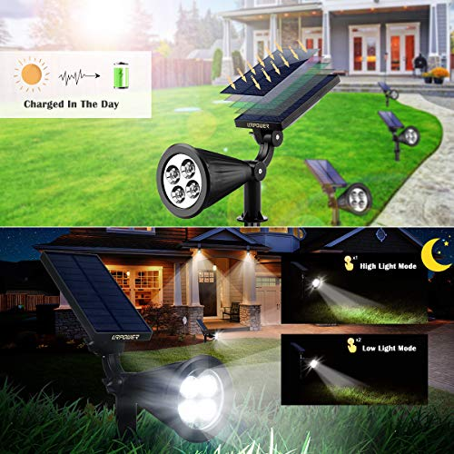 URPOWER Solar Lights, 2-in-1 Waterproof 4 LED Solar Spotlight Adjustable Wall Light Landscape Light Security Lighting Dark Sensing Auto On/Off for Patio Deck Yard Garden Driveway Pool Area(2 Pack)