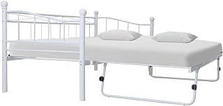 comprar comparacion Tidyard Marco de la Cama Estructura de Cama Estructura de Cama de Acero Blanca 180x200/90x200 cm 7#