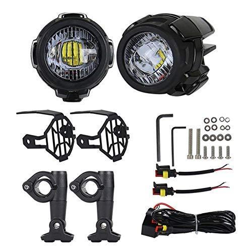 Urben Life Faros de Motocicleta 40W 3000LM, LED Luces de Niebla Bombilla Lámpara Auxiliar con Soportes De Metal para El Camión De Motocicleta ATV De BMW, 1par