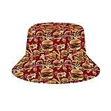 NA Sombrero unisex de algodón lavado para pesca de verano, para exteriores, hamburguesas, patatas fritas, Mujer, color Hamburguesas rojas patatas fritas, tamaño talla única