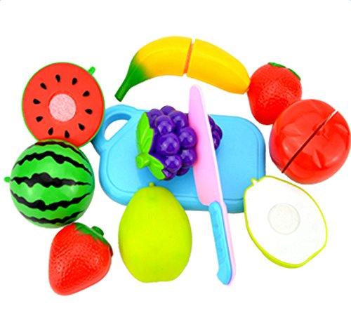 Hosaire 8 Piezas Corte de Juguetes de Frutas Hortalizas y Pizza Juego de Plástico para Niños Juguetes Set de Alimentos de Corte Juguete del Bebé
