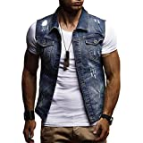 WUAI Clearance Men's Sleeveless Fashion Lapel Vintage Jeans Vest Motorcycle Jacket Waistcoat(Dark blue,US Size L = Tag XL)