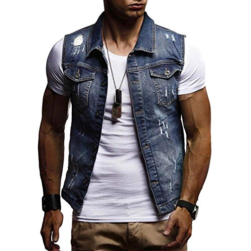 WUAI Clearance Men's Sleeveless Fashion Lapel Vintage Jeans Vest Motorcycle Jacket Waistcoat(Dark blue,US Size L = Tag XL)