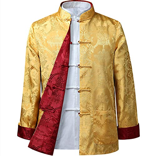 EEKUY Chinese Tang Pak Tops, Lente Herfst Beide Zijden Jas Lange Mouw Fitness Shirts Chinese Tang Pak Nationale Kostuums