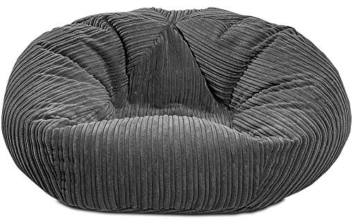 Gilda | CLASSIC Monster Adult Beanbag Soft & Comfy Gaming Jumbo Corduroy Bean Chair Filled With Virgin Beans Beautiful Home Accessory Moulds To Shape Delivered Filled (112x112cm,Grey)