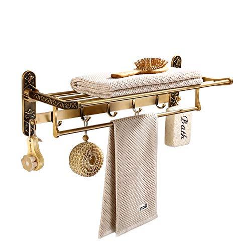 FaucetKAI Toalleros de Barra para baño Espacio Antiguo Toallero de Aluminio Perchero Plegable Toallero de pie Libre Estante de baño Tallado Toallero Barra Accesorios de Hardware de baño