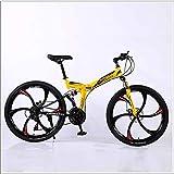 XER Mountain Bike Folding Rahmen MTB Bike Doppelaufhebung Mens-Fahrrad 27 Geschwindigkeiten 26 Zoll 6-High-Carbon Stahl Fahrradscheibenbremse,Gelb,21 Speed