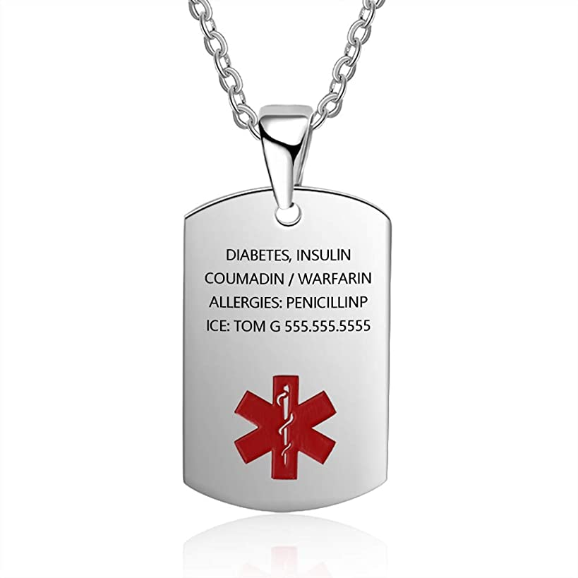 Medical Alert ID Necklace for Men Women Stainless Steel Dog Tag Emergency Med Alert Necklace for Men & Women Free Engraving