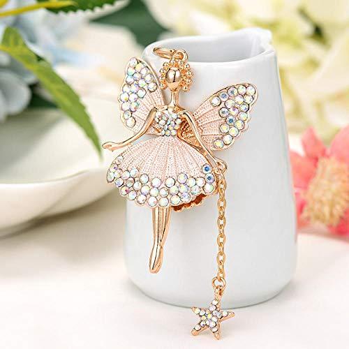Sinzong sleutelhanger voor dames, sleutelhanger, strass, vlinder, fee, sleutelring, engel, hanger, ballerina, legering, sleutelhanger, 2 stuks wit