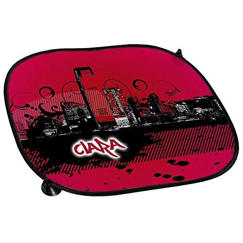 Auto-Sonnenschutz mit Namen Clara und schönem Motiv mit City-Skyline in der Farbe Pink für Mädchen | Auto-Blendschutz | Sonnenblende | Sichtschutz