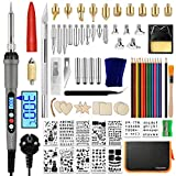 Distianert Kit Pirografia Legno 97PCS, LCD Saldatura Elettrica 60W, Punte per pirografia, Stampini, Matite Colorate per Masterizzazione Legno, Incisione Artigianale, DIY Intaglio