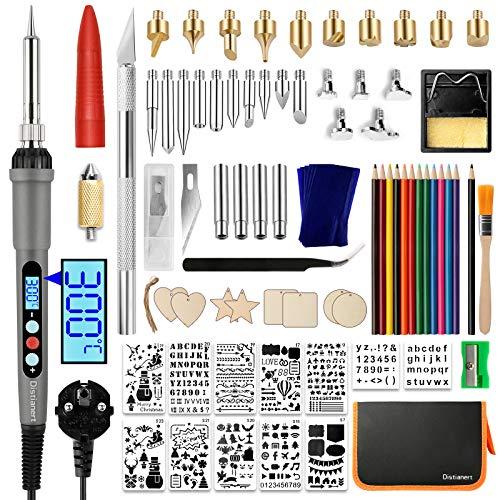 Distianert Kit Pirograbador de Madera 97PCS, LCD Soldador Estaño LED 60W, Consejos Pirograbado, Plantillas, Lápices Colores para Quema Madera, Grabado Artesanal, DIY Talla