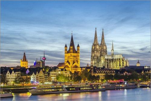 Posterlounge Acrylglasbild 100 x 70 cm: Blick auf das historische Zentrum von Köln von Editors Choice - Wandbild, Acryl Glasbild, Druck auf Acryl Glas Bild