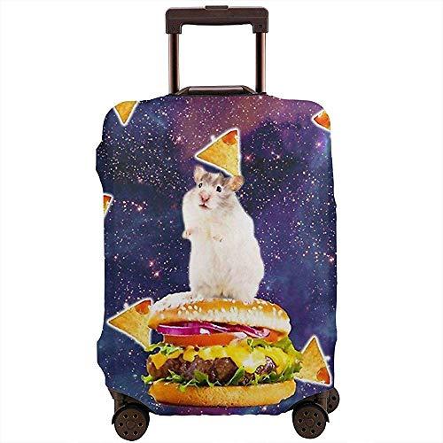 Cubierta de Equipaje de Viaje Hamster Ride Burge con Pizza en Galaxy Protector de Cubierta de Maleta...