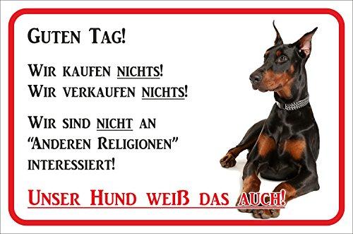 Rainbow-Print Schild - Vorsicht Dobermann Wir kaufen Nichts (SCHWARZ) (15x20cm)