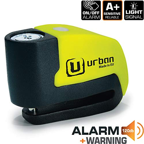 Urban Security UR6 Candado Antirrobo Disco con Alarma+Warning 120dB, 6 mm, Made In EU, Multicolor, Única