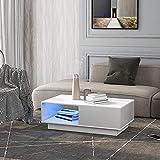 Couchtisch, moderner Hochglanz-Sofatisch, Couchtisch, rechteckiger weißer Wohnzimmertisch mit LED-Licht, 15 Farben für Teetisch, Haushaltsdekoration (99 x 55 x 32 cm) (LED Licht-Weiß)