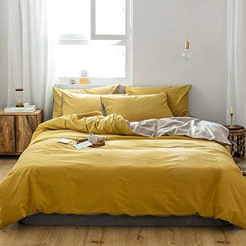 GETIYA Stilvoll Bettwäsche 135x200 Einfache Dunkel Gelb Einfarbige Bettwäsche 2 Teilig Atmungsaktiv Baumwolle Bettwäsche Dunkel Gelb Khaki Wende Bettwäsche Reißverschluss mit Kissenbezüge 80x80