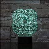 Colore dimmerabile LED luce notturna 3D diapositiva luce spirale astratta cerchio 7 colori cambio automatico della luce camera acrilica per bambini camera da letto decorazione della casa giocattoli