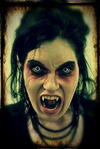 """Farbige Kontaktlinsen """"Vampir"""" + Kunstblut Kapseln + Behälter von FXContacts in weiß, weich, ohne Stärke als 2er Pack – angenehm zu tragen und perfekt zu Halloween, Karneval, Fasching oder Fasnacht - 6"""