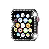 Henstar Compatible with Apple Watch Case 38mm,iWatch Face Bling Crystal Diamonds Plate Cover Protective Frame Compatible with Apple Watch Series 3/2/1 (Black-Diamond, Series 3/2/1 38mm)
