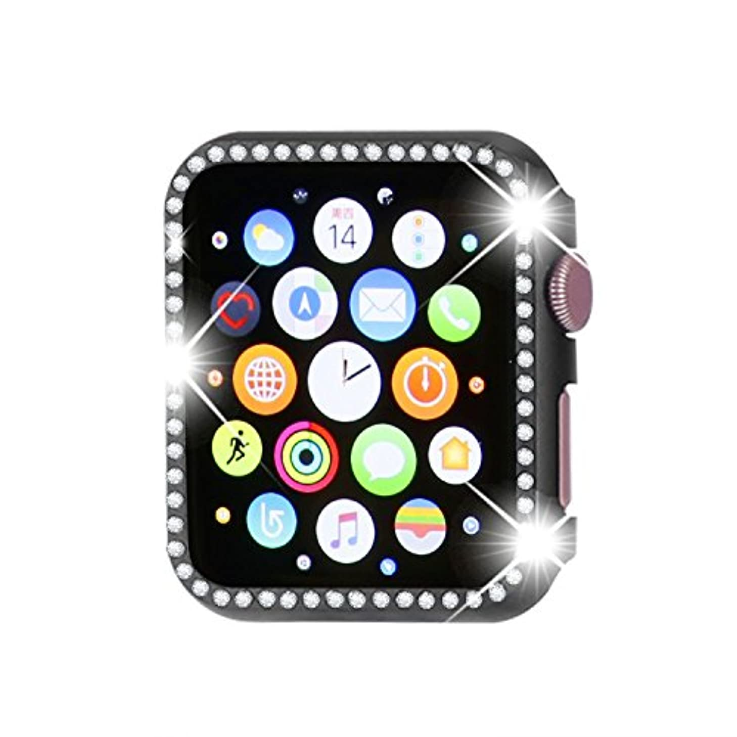 Henstar Compatible with Apple Watch Case 42mm,Compatible with iWatch Face Bling Crystal Diamonds Plate Cover Protective Frame Compatible with Apple Watch Series 3/2/1 (Black, 42mm)