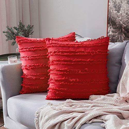 MIULEE Set of 2 Decorative Boho Throw Pillow Covers Linen Striped Jacquard Pattern Cushion Covers for Sofa Couch Living Room Bedroom 18x18 Inch Red