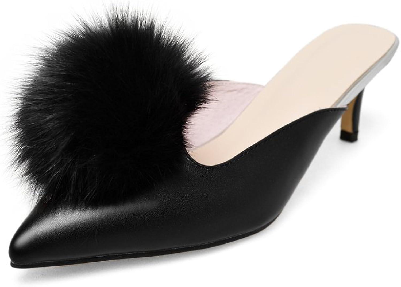 Dulce Diva Cow Leather Pointed Toe Stiletto Mid Heel Venonat Slip on Mules shoes Women Fashion