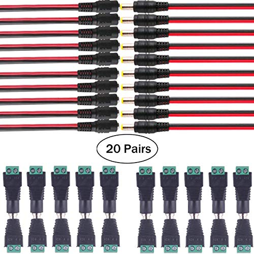 10 Pairs DC Power Pigtail Cable 18AWG 5.5 x 2.1mm Male Female Connctors 10 Pairs Male Female DC Power Jack Plug Adapter Connector for CCTV Home Security Surveillance Camera Transmission Systems