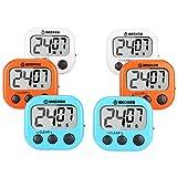 WECKEW Minuteur numérique de Cuisine avec chronomètre(2 Bleu + 2 Orange + 2 Blanc)