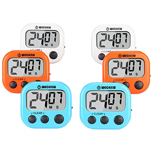 WECKEW Digital Kitchen Timer, Cooking Timer, Large Display, Strong Magnet Back, Loud Alarm, Count up Countdown Timer for Kids Baking Exercise Game (6 Pack, 2White+2Orange+2Blue)