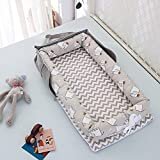 EElabper Nido de bebé para el diseño de Bolso de Dormir con co-Dormir Diseño de la Tumbona Desmontable Transpirable - Cuna portátil 100% algodón con Almohada para Dormitorio/Viaje (0-24 Meses)