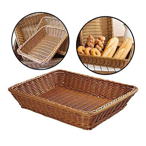 Lluo-BTE brotkörbchen, Rechteck Brotkorb, Wicker Woven Display-Körbe, Gemüse Lebensmittel Obst Serving Korb zur Aufbewahrung in der Küche (Size : 45x34x8cm)