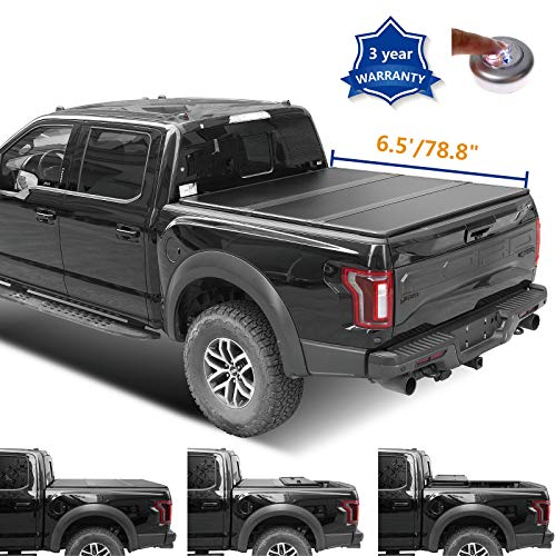 ZR 6.5ft 78.8in. Hard Tri Fold Tonneau Cover for 04-14 Ford F-150 & 06-08 Lincoln Mark LT Styleside Bed Pickup Truck PP Honeycomb FRP Panel with Waterproof Tape LED Lamp (Not Fit Track Sys.Model)