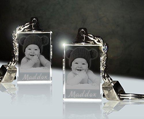 3Dglas 2 Stück Glas Schlüsselanhänger mit Fotogravur | Dein Baby Immer dabei für Zwei | Doppelpack