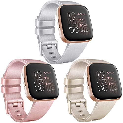 AK [3 Pack] Soft TPU Bands Compatible with Fitbit Versa, Elastomer Replacement Wristband Sports Waterproof Strap for Fitbit Versa Lite Smart Watch Women Men (Small, Rose Gold/Champagne Gold/Silver)