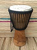 Auténtico tambor de djembe profesional africano de doble tejido – cabeza de 28 cm, con bolsa de tambor de precio medio