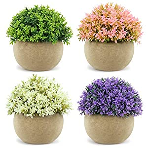 Sarah 4 Pack Artificial Plants, Mini Potted Fake Plants, Plastic Faux Topiary Shrubs, Small Fake Topiary Plants, Home Decor Plants for Bedroom, Office, Bathroom, Desk, Kitchen, Festival Decorations