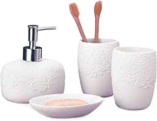 White Bathroom Accessories Set - 4 Pieces with Soap & Lotion Dispenser Soap Dish and 2 Tumblers for Bathroom Kitchen Countertop Ceramic Embossed Bathroom Set