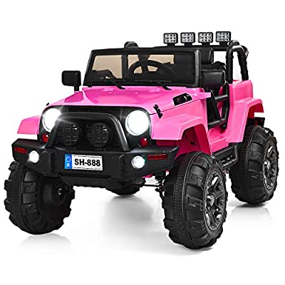 Costzon Ride On Truck, 12V Battery Powered Electric Ride On Car w/ 2.4 GHZ Bluetooth Parental Remote Control, LED Lights, Double Doors, Safety Belt, Music, MP3 Player, Spring Suspension (Pink) by Costzon